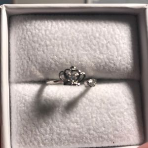 NWOT Silver plated crown ring with CZ Adjustable
